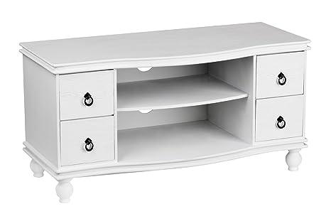 Premier Housewares - Mueble para televisión (46 x 90 x 40 cm), color blanco - chic