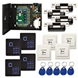 4 Doors Complete TCP/IP RFID Access Control Systems with North American Standard Electric Strike for Latch Doors Keypad Reader 110V Power Supply Box