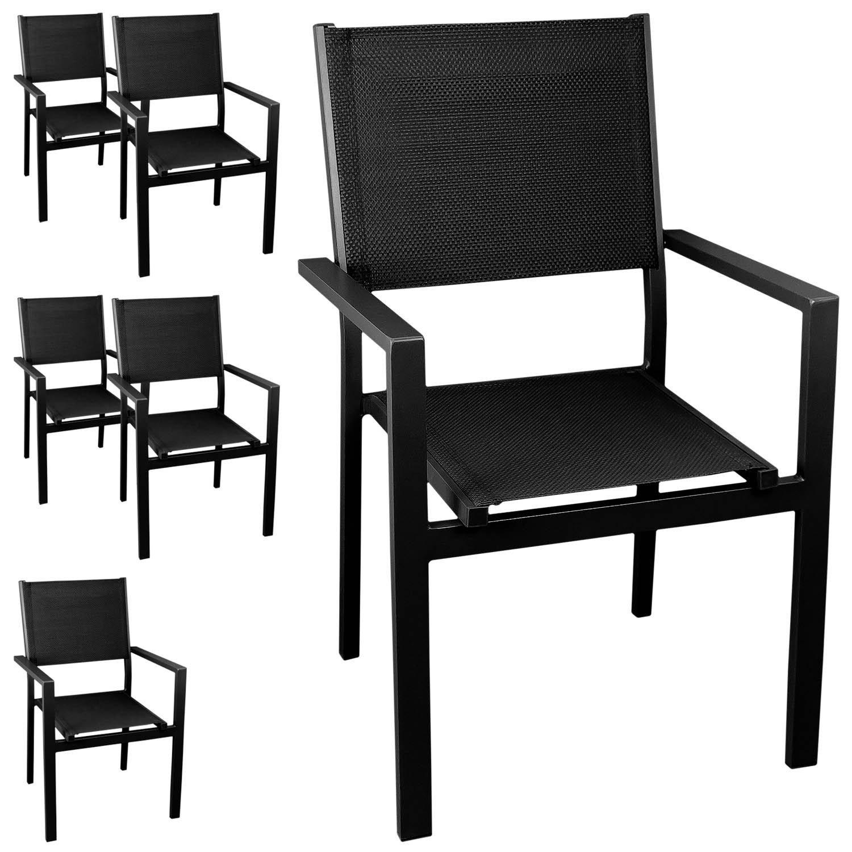 6x Aluminium Gartenstuhl Bistrostuhl , stapelbar, hochwertige 4×4 Textilenbespannung, schwarz/schwarz – Stapelstuhl Gartensessel Stapelsessel Balkonmöbel Gartenmöbel Terrassenmöbel Sitzmöbel jetzt bestellen