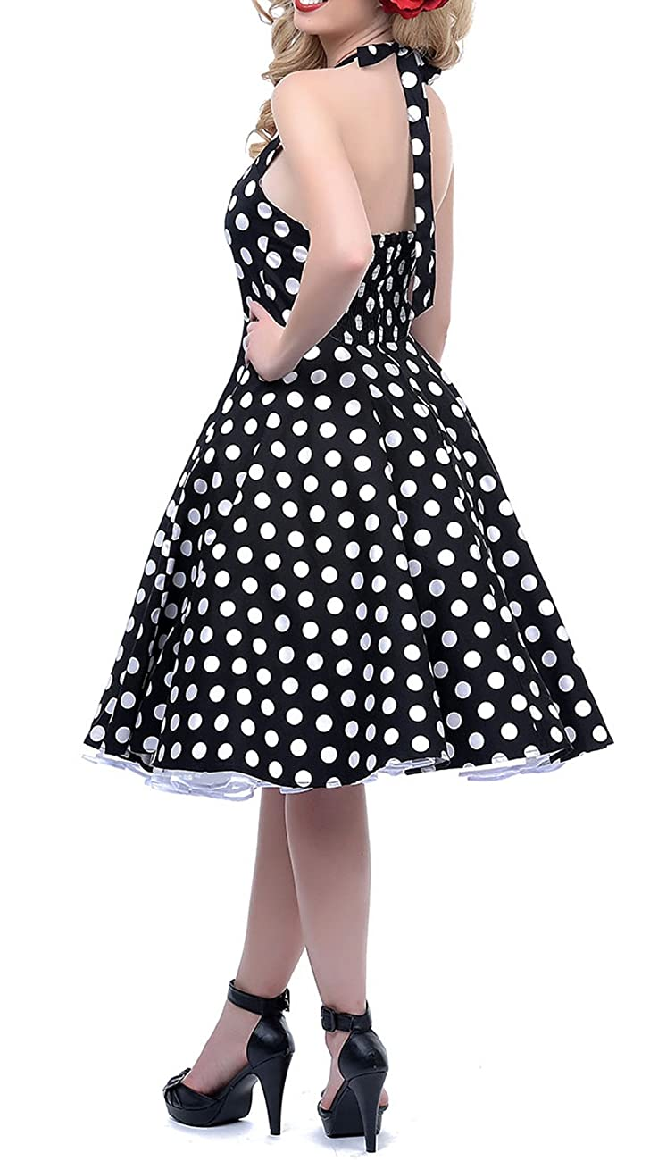 BI.TENCON 1950s Halter Style Vintage Polka Dot Swing Party Dress 4