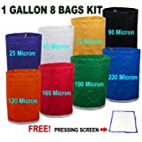 E-ONSale Herbal Ice Bubble Hash Bag Essense Extractor Kit, 1-Gallon, 8 Bag
