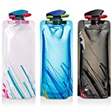 TraderPlus 3 Pack 700ml Collapsible Water Bottle BPA Free Flat Hydration Soft Canteen for Travel, Biking, Hiking Camping or Relaxing