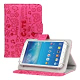 Mchoice 7 Inch Android Tablet New Universal Leather Flip Stand Case Cover (Hot Pink)