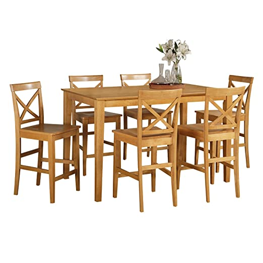 East West Furniture CAPU5H-OAK-W 5-Piece Counter Height Table Set, Oak Finish