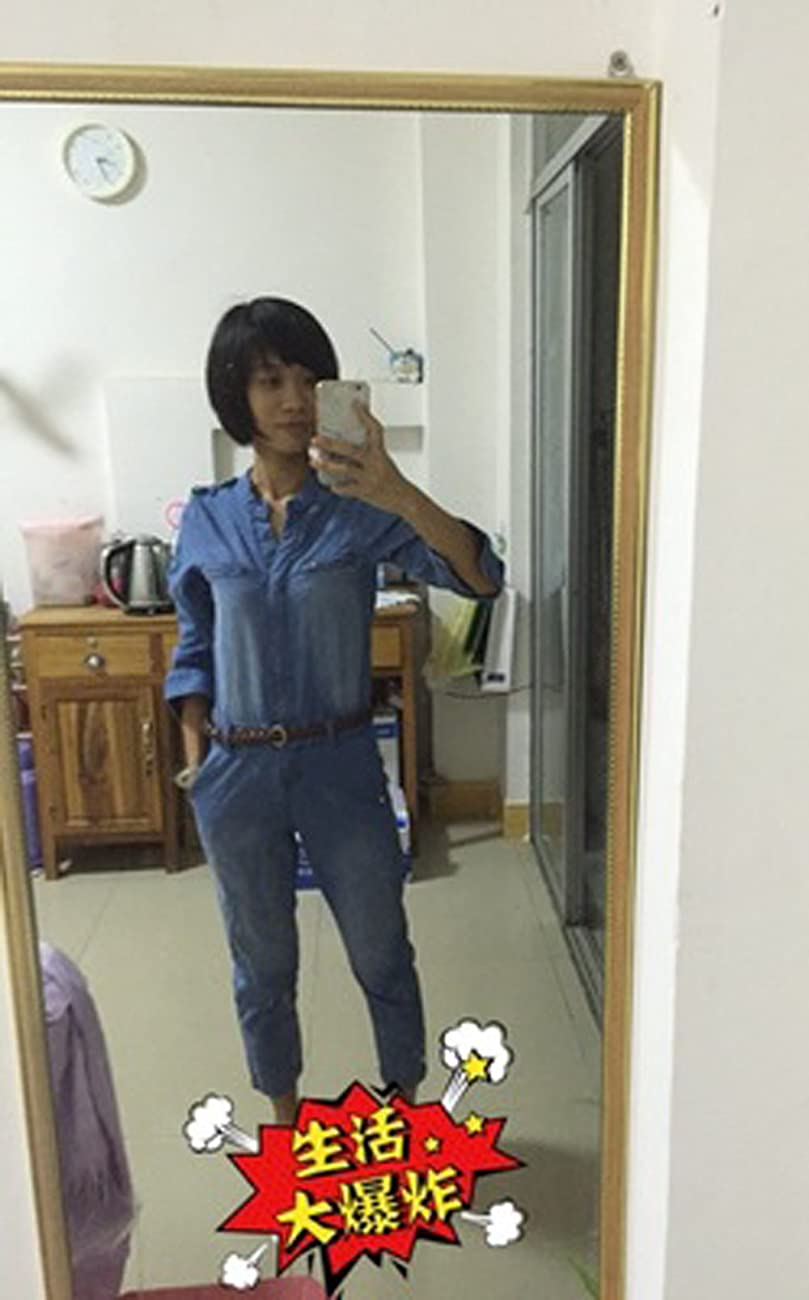 Darceil Women's Vintage Blue Long Sleeve Long Pants Denim Jumpsuit Overalls 3