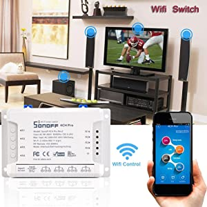 Sonoff 4CH Pro R2 Smart Wifi Switch Home 433MHz RF Wifi Light Switch 4 Gang 3 Working Modes Inching Interlock With Alexa Ksruee (Color: a)
