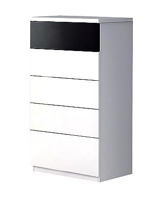 Links - Caliel 12 comò 5 cassetti. Dim. 62x38x109h cm. Melamina. Bianco.