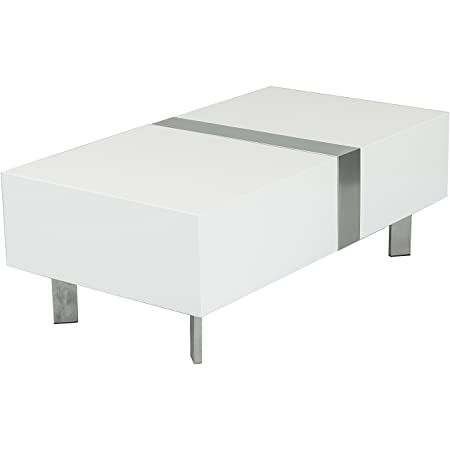 Gala White Lacquer Hidden-Storage Rectangular Coffee Table