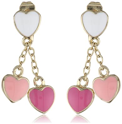 White and Pink Hearts Vermeil Lariat Drop Earrings