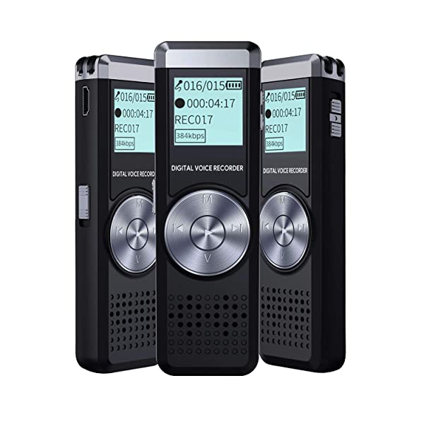 Voice Recorder for lectures Tape Recorder with MP3 IIDA 8GB Audio Recorder Digital Voice Activated Sound Recorder Portable USB Mini dictaphone Playback (Tamaño: 8GB)