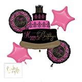 Andaz Press Balloon Bouquet Party Kit with Gold Cards & Gifts Sign, Black and Fuchsia Hot Pink Sweet 16 Mis Quince Birthday Fabulous Celebration Foil Mylar Balloon Decorations, 1-Set (Color: Birthday Sweet 16 Mis Quince Theme)