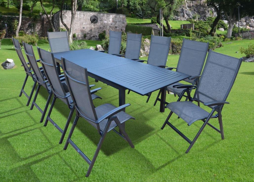 11-teilige XXL Luxus Aluminium Textilen Gartenmöbelgruppe