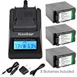 Kastar Ultra Fast Charger(3X faster) Kit and Battery (3-Pack) for Panasonic CGR-D54S, CGA-D54, VSK0581 and Panasonic AG-3DA1, AG-AC90, AG-DVC30, AG-DVC32, AG-DVC33, AG-DVC60, AG-DVC62, AG-DVC63, AG-DVC80, AG-DVC180, AG-DVX100, AG-DVX102, AG-HPX170, AG-HPX250, AG-HPX255, AG-HVX200, AJ-PCS060G, AJ-PX270PJ, HDC-Z10000, NV-DS29, NV-DS30, NV-DS50, NV-GX7, NV-MX5, NV-MX350, NV-MX500, NV-MX1000, NV-MX2500, NV-MX5000, AG-HRX200 [Over 3x faster than a normal charger with portable USB charge function] (Color: 14 (COMBO: 3 BATTERIES + 1 ULTRA FAST CHARGER KIT))