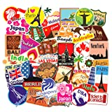 100pcs Travel Map Stickers World Famous Tourism Country Regions Logo Waterproof Tourist Wonders Stickers National Flag Idea for Luggage Skateboard Laptop Luggage Suitcase Book Covers (Color: travel map)