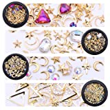 NICOLE DIARY Gold Nail Studs Gems Sparkle Rhinestones Metal Rivets Charms Hollow Moon Star Shaped Artificial Pearls Triangle DIY 3D Nail Art Decoration(4 Boxes) (Color: Set 1)