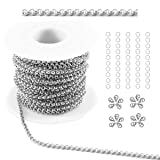 Tiparts 33Ft Rolo Chains Cable Box Chains Necklace Bulk Jewelry Chains for Jewelry Making (Silver, Chain Width 2.5mm+20pcs Clasps+50 Rings) (Color: Silver, Tamaño: Chain Width 2.5mm+20pcs Clasps+50 Rings)