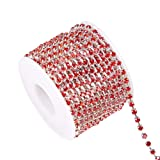 BENECREAT 10 Yard Crystal Rhinestone Close Chain Clear Trimming Claw Chain Sewing Craft About 1440pcs Rhinestones, 3mm - Red (Silver Bottom) (Color: Red (Silver Bottom), Tamaño: 3mm)