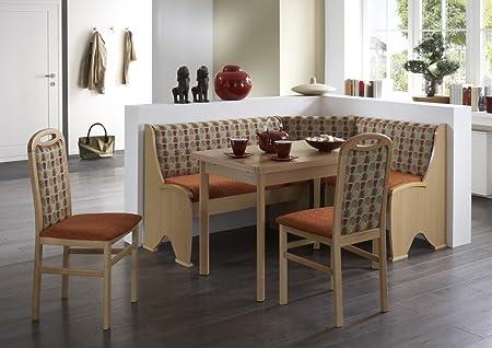 Dreams4Home Eckbankgruppe 'Upton' Essgruppe 168 x 128 x 86,5 cm Tisch 2 Stuhle modern Buche Chenille-Velours terracotta Eckbank Kuchentisch 4-teilig Landhaus Kuche