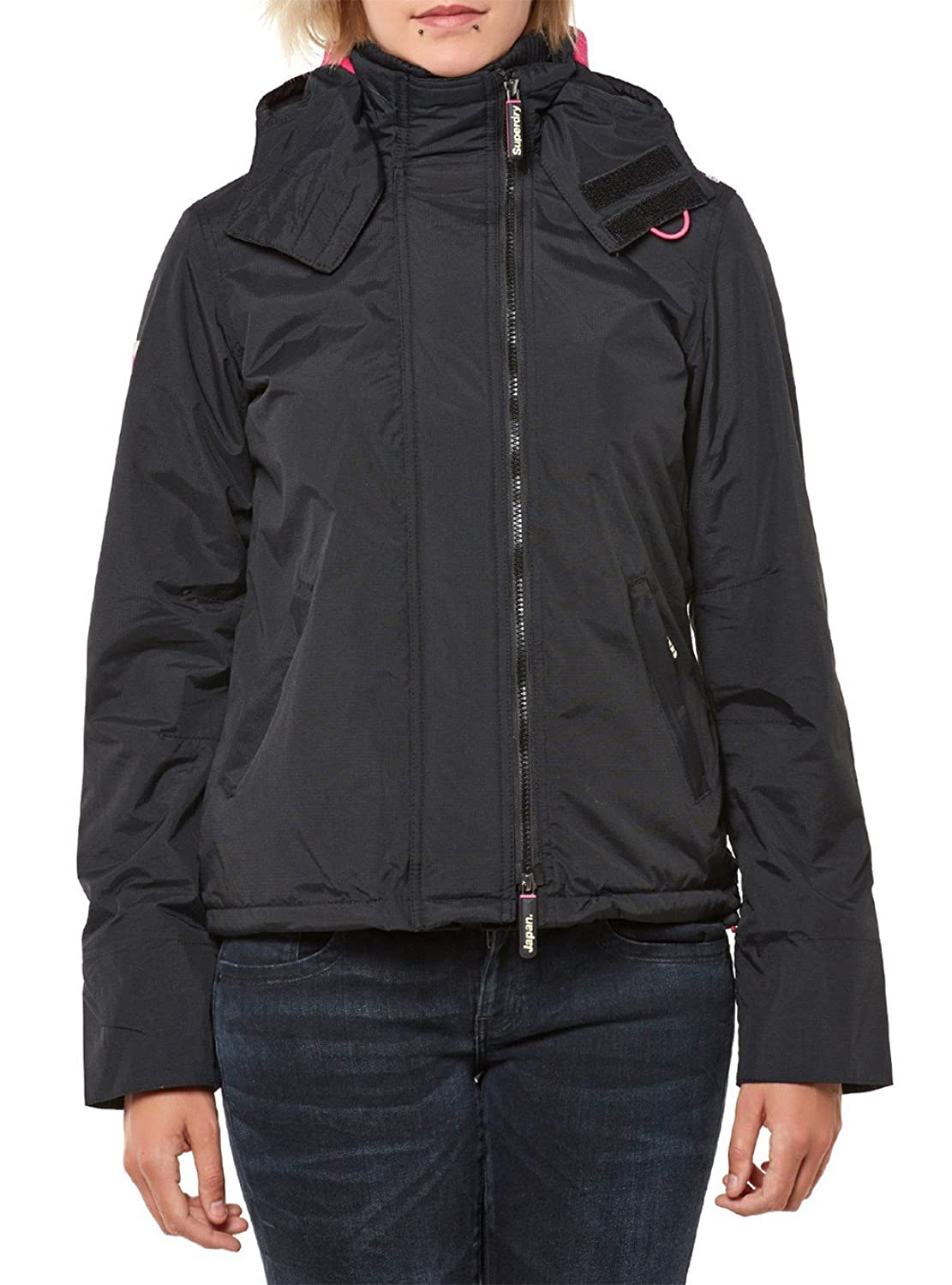 Superdry Windcheater Women POP ZIP HOODED ARCTIC Black Lurex Punk Pink