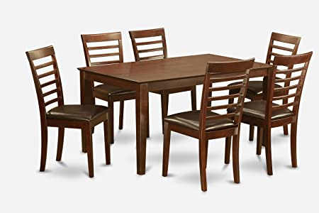 East West Furniture CAML7-MAH-LC 7-Piece Dining Table Set