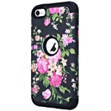 iPod Touch 7 Case, iPod Touch 6 Case,SAVYOU Three Layer Heavy Duty Hybrid Impact Resistant Shockproof Cover Protective Case for Apple iPod Touch7th/6th/5th Generation (Color: Flower-Black)