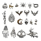 Halloween Charm-100g(about 55-60pcs) Antique Silver Halloween Collection Craft Supplies Charms Pendants for Crafting, Jewelry Findings Making Accessory For DIY Necklace Bracelet (Halloween Collection) (Color: Halloween Collection)