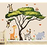 Safari Decal with Tree and Animals, African Tree with Safari Sunset Animals (Color: Safari Sunset)