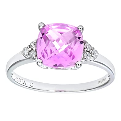 Naava 9ct White Gold Cushion Cut Created Pink Sapphire And Diamond Ring