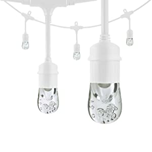 Enbrighten Classic LED Café String Lights with Stainless Steel Lens Shade, White, 12ft, 6 Impact Resistant Lifetime Bulbs, Premium, Shatterproof, Weatherproof, Indoor/Outdoor, UL Listed, 43366 (Color: White Stainless Steel, Tamaño: 12 ft.)