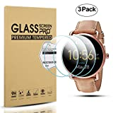 Diruite 3-Pack for Fossil Q Wander Gen 2 Screen Protector, 2.5D 9H Hardness Tempered Glass Screen Protector for Fossil Q Wander Smart Watch - Permanent Warranty Replacement (Color: clear)