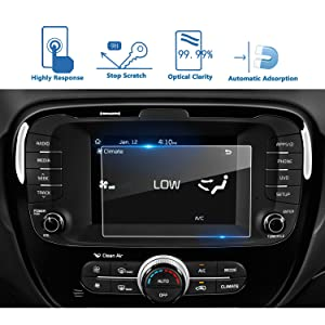 LFOTPP Car Navigation Screen Protector Compatible for Soul 2014-2018 7 Inch, [9H] Tempered Glass Infotainment Screen Center Touch Screen Protector Anti Scratch High Clarity (Color: 2014-2018 Kia Soul 7 Inch)