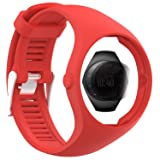 TUSITA Strap + Screen Protector For Polar M200, Replacement Silicone Strap Bracelet WristBand Accessory for Polar GPS Watch (Red) (Color: Red)