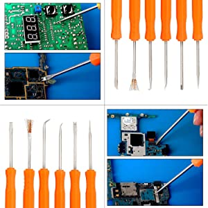 Kaisiking 6 Pcs Double Sided Soldering Assist Aid Repair Tool with 2 Precision Tweezers for Electronics Repair and Soldering