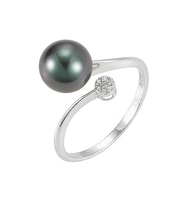 Adriana Stella Di Notte La Mia Perla Women's Ring 925Silver Rhodium Plated Cubic Zirconia Brilliant Cut. Off-round Tahitian cultured pearl 56(17.8)-n20.2