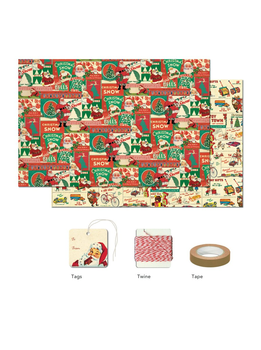 Cavallini Papers 4-Sheet Wrap Pack, Vintage Christmas 1