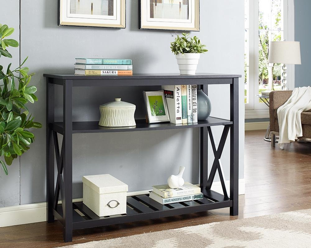 Black Finish 3 Tier Occasional Console Sofa Table