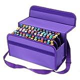 BTSKY Handy 80 Slot Carrying Lipstick Organizer Marker Case Holder for Copic Prismacolor Touch Spectrum Noir Paint S, Purple (Color: Purple)