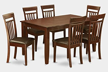 East West Furniture DUCA7-MAH-LC 7-Piece Formal Dining Table Set