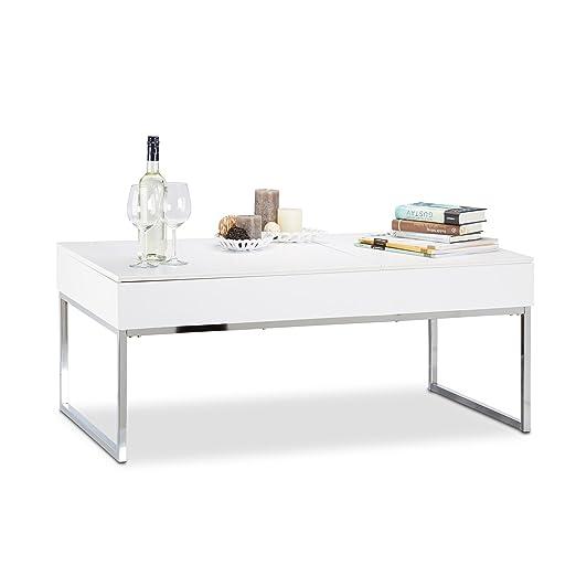 Relaxdays Table basse réglable pour le salon rangement design 2 compartiments fonction ascenseur extensible HxlxP: 45,5 x 110 x 60 cm, blanc