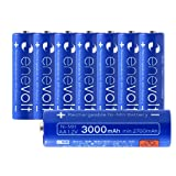enevolt AA Rechargeable Batteries High-Capacity 3000mAh Ni-MH 1,000 Recharge Cycles and Low Self-Discharge, Pre-Charged - 8 Pack (Color: Blue, Tamaño: AA 3000mAh | 8 Pack)