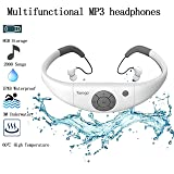 Tayogo 8GB Waterproof MP3 Player, IPX8 Swimming Waterproof Headphones Work for 6-8 Hours Underwater 3 Meters with Shuffle Feature - White (Color: MP3-White)