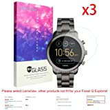 Lamshaw cdy-273 For Fossil Q Explorist Screen Protector, 9H Tempered Glass Screen Protector for Gen 3 Smartwatch - Q EXPLORIST SMOKE (3 pack) (Color: 3 pack)