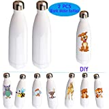 UOhost 2 PCS 17oz Sublimation Blank Water Bottles Vacuum Insulated Double Wall Stainless Steel Sports Bottles Cups for Christmas DIY, White (Color: White)