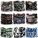 KALILY 9pcs Headwear CAMO Headbands Scarf Head Wrap Mask Sweatband -12 in 1 Multifunctional Sport Headband Neck Warmer Yoga, Camping, Fishing, Hiking, Running, Motorcycling, Skiing (Color: K Pack, Tamaño: Medium)