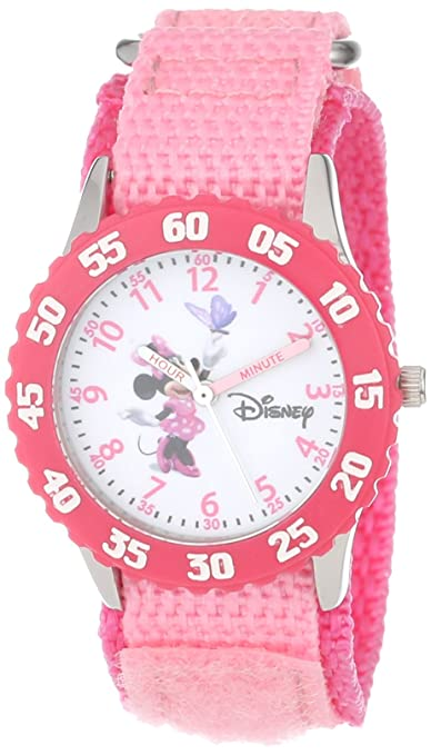 Disney Girls' W000025 Time Teacher Stainless Steel and Nylon Minnie Mouse Watch