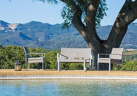 4pc Patio Furniture Set Outdoor Wicker Rattan Garden Lawn Sofa Seat Set
