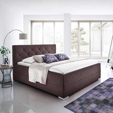Bett in Braun Stoffbezug Breite 191 cm Liegefläche 180x200 Pharao24
