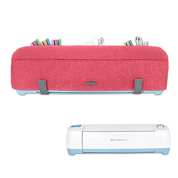 Luxja Dust Cover Compatible with Cricut Explore Air and Explore Air 2, Dust Cover with Back Pockets for Accessories, Red (Color: Red)