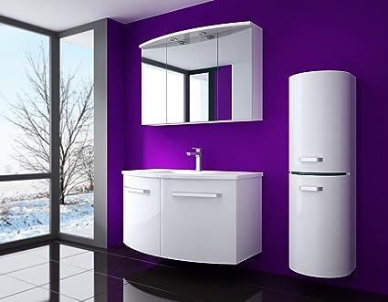 Atlantis bagno set di mobili laccato lucido colore bianco davanti e sui lati 90cm composto da: waschbeckenunterschrank con luci,/lavabo e armadietto