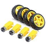 4PCs DC Electric Motor 3-6V Dual Shaft Geared TT Magnetic Gearbox Engine with 4Pcs Plastic Toy Car Tire Wheel, Mini F67mm Smart RC Car Robot Tyres Model Gear Parts, Yeeco (Tamaño: 4pcs 1:48+4Pcs Plastic Wheel)